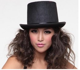 Wholesale-Black Felted Wool Top Hat Felt Fedoras Vosicar Women Men Hat Halloween Magician Magic Hat Jazz Hat Free shipping Wholesale