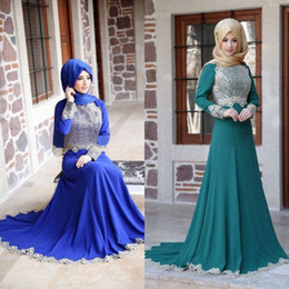 Newest 2016 Muslim Blue Hunter Chiffon Long Sleeve A Line Evening Dresses Cheap Arabic Style Champagne Lace Long Prom Gowns EN1188