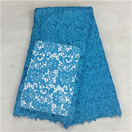 Beautiful sky blue french guipure lace with big jacquard embroidery african water soluble lace fabric for party dress BW36-5,5yards pc