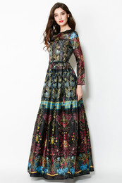 High Quality New Runway Fashion Women's O-Neck Long Sleeve Vintage Ethnic Printed A-Line Casual Maxi Dress