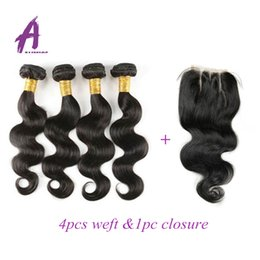 Indian Virgin Hair Body Wave With Closure Cheap Human Hair 5 Bundles 100G Bundles Indian Virgin Hair With Lace Closure Hot Sale