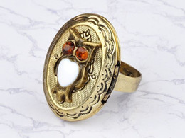 Adjustable vintage Art Deco bronze owl locket ring Cute Rhinestone Owl Head Rings