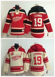Factory Outlet, Men #19 Steve Yzerman Old Time Detroit Red wings Ice Hockey Hoodies Sweatshirt Jerseys, Stitched sewn Numbering Lettering