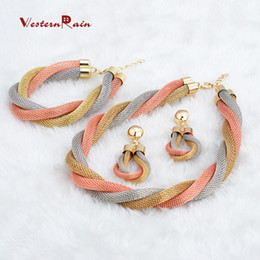 Wholesale Costume Big Necklace Sets - WesternRain 2016 Top Quality Dubai&African Big Heavy New Colorful Jewelry Set,Women Gorgeous Cheap Gold Plated Costume Jewelry A081