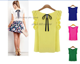 Wholesale fashion summer Chiffon Shirts blouses butterfly sleeve Ruffles round collar bow sleeveless Chiffon shirts Women's Shirts tops