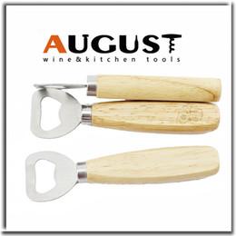 Wholesale Hot sale Stainless steel wooden handle Red wine beer bottle opener never deformation new arrival