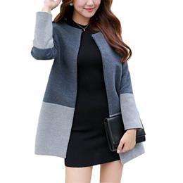 2016 Fashion Elegant Women Long Coat Wool Patchwork Single Botton Slim Grey Coat Oversized S-2XL Womens Winter Jackets and Coats