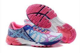 Wholesale ASICS GEL NOOSA White Red and Blue For WOMEN New sneakers Competition breathable mesh running shoes Perfect quality Size US