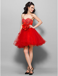 2019 Party Dresses Princess Bow Red Sweetheart Beaded Knee Length Tulle Sequined Cocktail Prom Dresses Special Occasion Dress