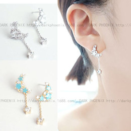 Korean star with money overall S925 Silver Micro Pave moon stars tassel drop earrings