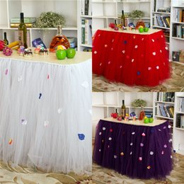 Wholesale 2015 Tulle Table Skirt Tutu Table Decoration for Weddings White Red Birthdays Baby Bridal Showers Parties Tutu Party Table Skirt WCS017