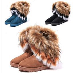 Wholesale Fashion Rabbit hair and Fox Fur In tube Color matching warm snow winter boots for women ladie boots XMAS gift