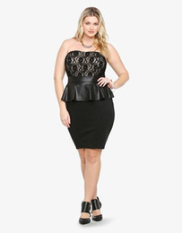 Lace XXL 2XL Plus Size Sleeveless Hot Black Big Women Sexy Female Peplum Dress Off-shoulder Party Dress W846045