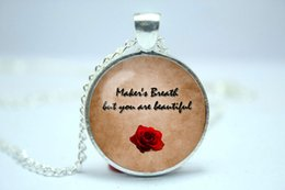 Wholesale 10pcs Dragon Age Origins Alistair s Rose Quote glass cabochon dome pendant Necklace Maker s breath but you are beautiful