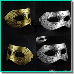Wholesale Men s ancient Greek and Roman warriors masquerade mask Gold and silver color optional