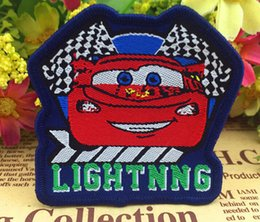 Wholesale 6 x cm Mcqueen Sew on Woven label red car patches Animated cartoon embroidered kid s love accessories