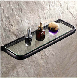 Wholesale And Retail Oil Rubbed Bronze Bathroom Glass Shelf Shower Caddy Cosmetic Storage Holder