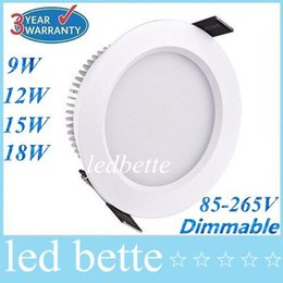 Dimmable 9W 12W 15W 18W Led Downlights 160 Angle 2.5 3 4 5 Inch Recessed Led Downlight Warm Cool White Silver White Shell 85-265V Drivers