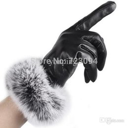 Wholesale Best Quality Hot Selling New Arrival Women Lady Black Leather Gloves Autumn Winter Warm Rabbit Fur Mittens Hottest CH159