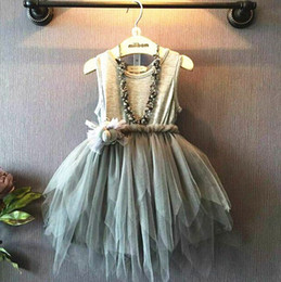 new Girls Toddler Girl Dress Lace Girls Dresses Toddler Girl's Clothing Kids Clothes Grey Baby Dress princess party dress