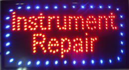 Wholesale Large x13 quot Bright LED Instrument Repair Neon Sign Guitar Drums Fix Shop Open