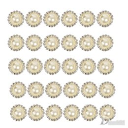 Wholesale 100 Crystal Pearl Button Metal Rhinestone Buttons For Wedding Invitations Or Baby Hair Embellish Craft