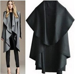 Wholesale Cheap Ruffle Coat - Free Shipping cheap Fashion Women winter wool cape coat HOT new cape coat for women