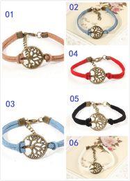 Wholesale 50pcs new wish tree bracelet antique silver wish tree pendant Leather Bracelet Best Chosen Gift Personalized tree of life