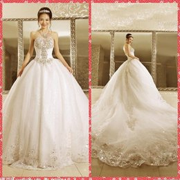 Wholesale Sweetheart Princess Wedding Dress China - Elegant Sweetheart Beaded Crystal Ball Gown Wedding Dresses Lace Appliques Fairy Tale Princess Bridal Dress Gowns Custom From China 2016