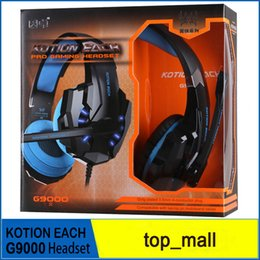 Wholesale KOTION EACH G9000 mm Gaming Headphone Headband Headset with Microphone LED Light for Laptop Mobile Phones Xbox ONE PS4
