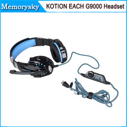 Wholesale 2015 KOTION EACH G9000 mm Gaming Headphone Headband Headset with Microphone LED Light for Laptop Mobile Phones Xbox ONE PS4