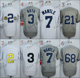 Wholesale New York derek jeter babe ruth mickey mantle Baseball Jersey Cheap Rugby Jerseys Authentic Stitched Size