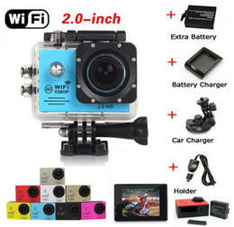 Wholesale SJ7000 P Full HD WiFi Sports Camera FPS m Waterproof Action Camera with Battery Charger Car bracket Charger LCD Helmet Video DVR