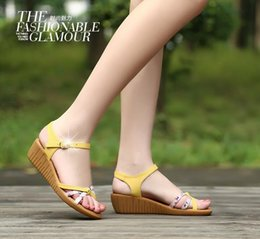 New 2016 famous summer sandals women shoes comfortable soft-soled fashion shoes printing Wedges genuine leather shoes women sandals shoes