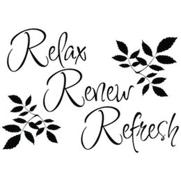 Wholesale Relax Refresh Renew wall decals vinyl stickers home decor living room wall pictures waterproof wallpaper for bathrooms