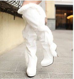 Wholesale Size add new winter classic elegant and sexy real rabbit hair white high boots