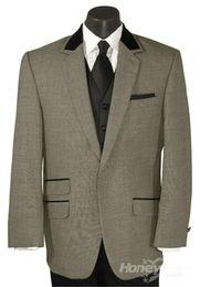 Wholesale custom made Velvet Top Collar One Button Notch Stroller Tuxedo Coat Jacket Pants Vest Tie B