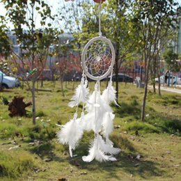Wholesale India Style Handmade White Dream Catcher Circular Net With Feathers Hanging Decoration Ornament Craft