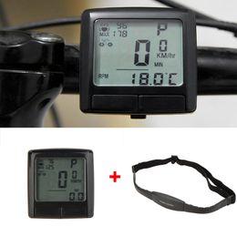 Évaluation des ordinateurs en Ligne-LCD vélo vélo vélo informatique Compteur de vitesse Odomètre + sans fil Moniteur de fréquence cardiaque Testeur pectorale Accessoires Vélo DHL Y0267