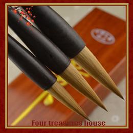 Descuento sistemas de la pluma de madera Puro pelo lobo pelo caligrafía cepillo regalo caligrafía cepillo ébano madera varilla lago pluma profesional grande 3 piezas \ set pincel lápiz caligrafía