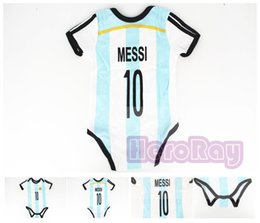 Wholesale 100 cotton Bebe New style Argentina classic soccer jumper jersey Messi baby boys girls romper color bule Free Shippment
