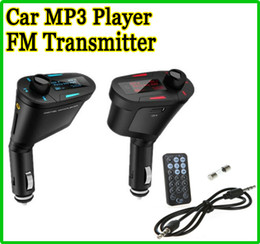 Wholesale HOT Car MP3 Kit Payer Music Player WMA Wireless FM Transmitter Radio Modulator Multi color LCD USB SD MMC Slot Remote control audio cable