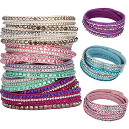 Wholesale Rhinestone Velvet Bracelets Crystal Bracelet Muilty-layer Wrap Bracelet Fashion Bling Mix Different Colors Handmade Gift