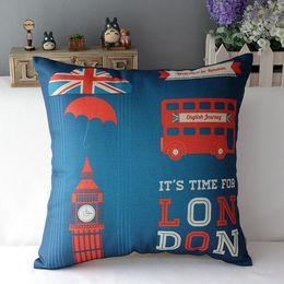Wholesale London pillowcase London big ben union jack bus soldiers balloon love throw pillow case pillow cover