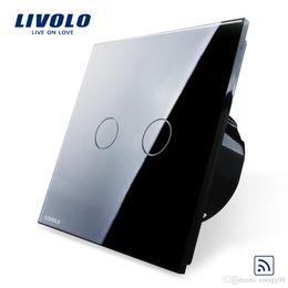 Wholesale Smart Switch Black Crystal Glass Panel Livolo EU Standard Remote Switch V Wall Light Remote Touch Switch VL C702R