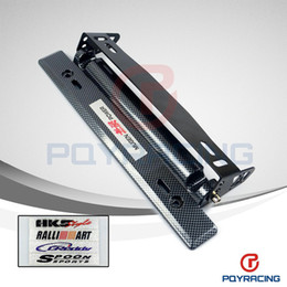 Wholesale PQY STORE NEW MUGEN Style Adjustable Carbon Fiber Look Bumber Plate License plate frame with Five kinds of logo stickers