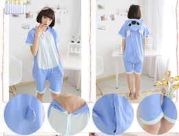Wholesale 2016 Spring Summer Cosplay Stitch Cartoon Animal Piece Pajamas Cute Cotton Short Sleeves Men And Women Couple Home Service CC061808