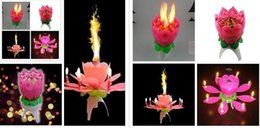 Wholesale Lotus Flower Music Candle Beautiful Blossom Lotus Flower Candle Birthday Party Cake Music Sparkle Cake Topper Rotating Candle