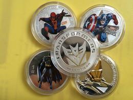 Wholesale 5 set Mix Hollywood hero iron man transformer batman spider man America captain Elizabeth silver plated souvenir coin set