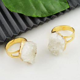 Wholesale Druzy Rings Natural Crystal Geode Drusy Ring Jewelry making kt Gold Plated Edge